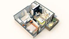 Axonométrie d'un lot de type T2 issu d'un programme immobilier neuf à Nanterre pour Bouygues Immobilier.