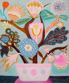 Flores pastel. Pintura original, acrílico sobre tabla entelada. Firmado. Flores folk.