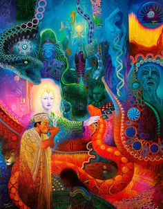 Anderson Debernardi is an artist, a master painter from Peru. He is best known for his ayahuasca visions series. His ayahuasca visions are beautifully painted in incredible color with great attention. Blue Morpho, Psychedelic Art, Acid Art, Psy Art, Mystique, Visionary Art, Ancient Aliens, Illustrations, Occult