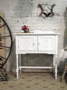 Painted Cottage Chic Shabby White Server buffet by paintedcottages
