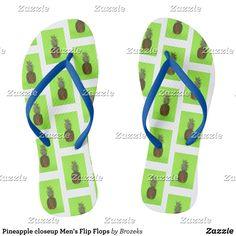 Pineapple closeup Men's Flip Flops - Durable Thong Style Hawaiian Beach Sandals By Talented Fashion & Graphic Designers - #sandals #flipflops #hawaii #beach #hawaiian #footwear #mensfashion #apparel #shopping #bargain #sale #outfit #stylish #cool #graphicdesign #trendy #fashion #design #fashiondesign #designer #fashiondesigner #style