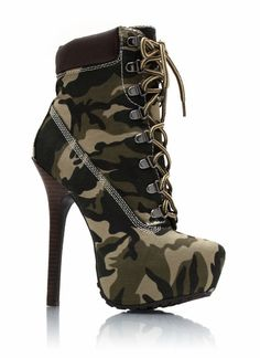 Camo high heels for radical activities!
