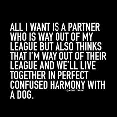 All I want is a partner who is way out of my league but also thinks that I'm way out of their league & we'll live together in perfect confused harmony with a dog.