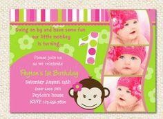 Mod Monkey Birthday Invitations by LollipopPrints on Etsy, $12.00