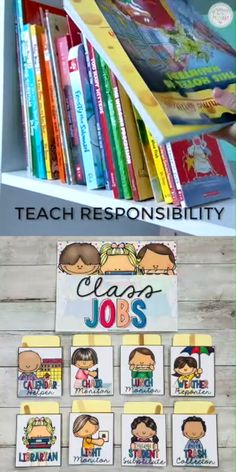 Encourage students to take part in daily classroom responsibilities and turn your classroom management strategy into a positive one. Teach primary kids to be helpful responsible and organized with these classroom activities and job chart. Preschool Jobs, Kindergarten Classroom Organization, Teacher Organization, Classroom Activities, Preschool Classroom Management, Preschool Job Chart, Classroom Storage Ideas, Preschool Classroom Decor, Educational Activities