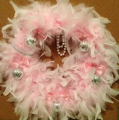 DIY Easy feather boa wreath. For Christmas or not! Easy & Simple wall door hanging. Make for under $8! Tutorial Little girls room? Babies first Christmas? Baby shower?