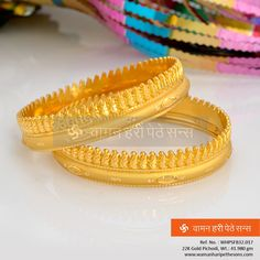 A stunning  from our collection to bring out the best in you. Gold Bangles Design, Gold Jewellery Design, Designer Bangles, Gold Necklace Simple, Delicate Necklaces, 24k Gold Jewelry, Bridal Jewelry, Maharashtrian Jewellery, Jewels