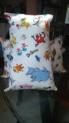 Dr. Seuss Throw Pillows set of 2 by RoseCityCrafter on Etsy
