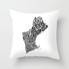 Typographic New England Throw Pillow