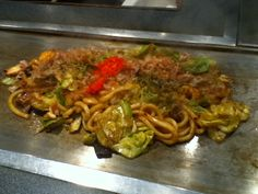 Yaki udon - thick, smooth, white Japanese noodles eaten with a special sauce, meat and vegetables.