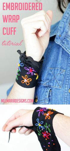 DIY Embroidered Tee Shirt Cuff Tutorial from Melmaria Designs. You can use a tee or jersey fabric for this colorful embroidered DIY wrap cuff. At the link there are resources for finding tutorials for learning basic embroidery stitches.
