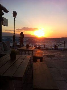 The sunset in Loutraki, Greece