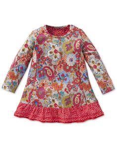 Oilily Teena Grey Oakleaf Print Dress - BABY