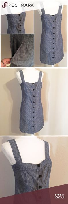 Derek lamb dress with pockets size 10 Cute dress buttons up has pockets. Great for summer day vacations. Measures 17.5 across at bust and 35 inches long. Fabric looks like denim but isn't is a lighter weight fabric. Derek lam for design nation Derek Lam Dresses Midi