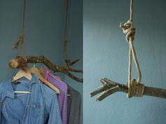 two photos of hanging rail for wall