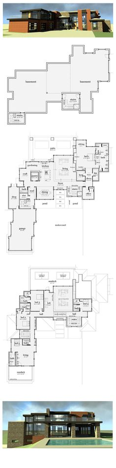 Modern House Plan 67596 | Total Living Area: 5165 sq. ft., 5 bedrooms & 5.5 bathrooms. The entry walk steps across the reflecting pond and waterfall. Inside, the entry is open to the translucent bridge above. The kitchen, gardening area and craft room are connected and provide a continuous work area. #modernplan #houseplan: