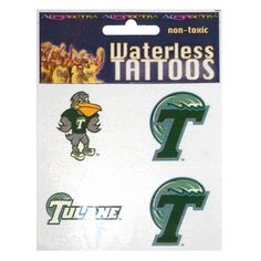 Waterless, non-toxic face tattoos featuring Riptide, Tulane and T-wave logos. 4 per pack.