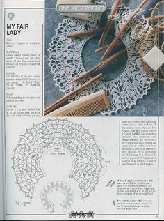 Magic crochet № 150 - Edivana - Picasa Web Albums Crochet Collar Pattern, Col Crochet, Crochet Lace Collar, Crochet Lace Edging, Crochet Cap, Thread Crochet, Crochet Crafts, Crochet Stitches, Crochet Designs