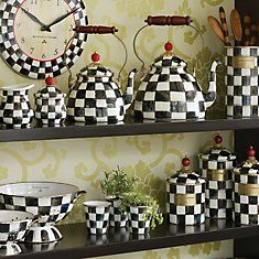 Black And White Kitchen Accessories Gray Chairs 42 Best Checks Images Ornaments Chess Pie Mackenzie Childs Enamelware I Have The Clock Large Teapot That Love