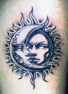 Sun and Moon Tattoos | The extraordinary photo below, is part of Sun and Moon Tattoos piece ...