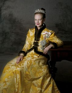 Queen Margarethe of Denmark, portrait, history, royalty, HM Dronning Margrethe, posing, yellow gown, crown jewles, kronjuler, tiara
