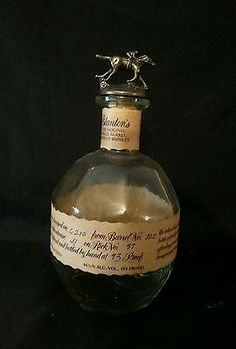Vintage Blanton Bourbon Whiskey Bottle Decanter Empty Cork Stop Jockey and Horse