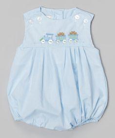 Love this Petit Ami Blue Train Bubble Bodysuit - Infant by Petit Ami on #zulily! #zulilyfinds