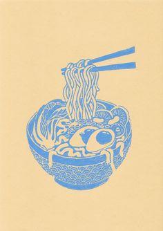 Ramen print, japan inspired blue bowl of noodle soup, handprinted linocut print, Art And Illustration, Illustrations, Linocut Prints, Art Prints, Ramen, Arte Sketchbook, Sketch Inspiration, Grafik Design, Art Inspo