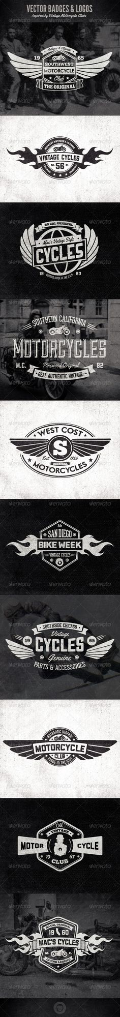 Vintage Badges and Logos - Motorcyle Inspired | Buy and Download: http://graphicriver.net/item/vintage-badges-and-logos-motorcyle-inspired/6331997?WT.ac=category_thumb&WT.z_author=GraphicMonkee&ref=ksioks