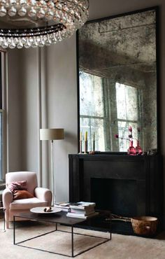 Love the antique mirror & simplicity of the modern interior. From * Chic Provence * Gab