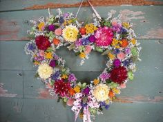 Bright spring garden dried flower heart wreath by NHWoodscreations. , via Etsy. Valentines Art, Homemade Valentines, Valentine Wreath, Printable Valentine, Valentine Ideas, Dried Flower Wreaths, Dried Flowers, Bright Spring, Spring Colors