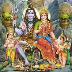 Shiva,Parvati, Kartik and Ganesha (Reprint on Card Paper - Unframed))