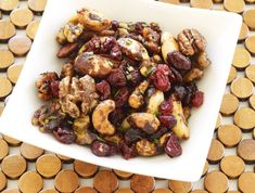 Addictive: Sweet & Spicy Glazed Nuts with Cranberries and Rosemary. #recipe
