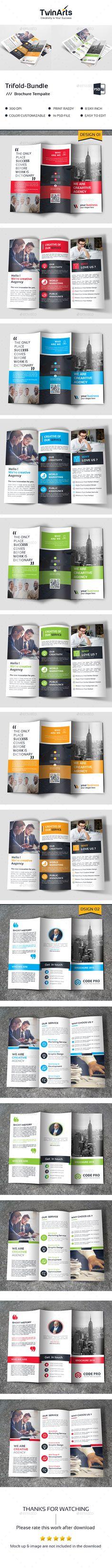 Trifold Bundle - #Brochures Print #Templates Download here: https://graphicriver.net/item/trifold-bundle/19412533?ref=alena994