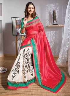 Sarees Online: Shop the latest Indian Sarees at the best price online shopping. From classic to contemporary, daily wear to party wear saree, Cbazaar has saree for every occasion. Latest Indian Saree, Indian Sarees Online, South Silk Sarees, Art Silk Sarees, Indian Attire, Indian Outfits, Indian Clothes, Casual Saree, Pink Saree