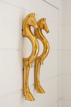 Brass cabinet pulls in the shape of twin horses.