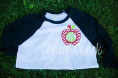 Chevron Apple Monogram Teacher Shirt