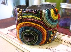 Art Studio51 Rainbow Bead Embroidery Bracelet.