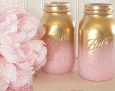 Gold and pink mason jars