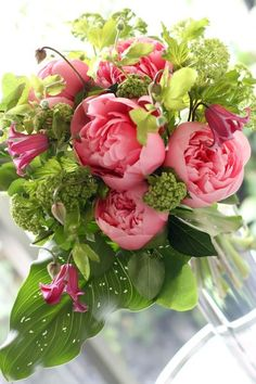 ...Beautiful peonies with greens...
