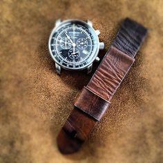 Zeppelin pilot watch on 22mm Bas and Lokes handmade leather watch strap