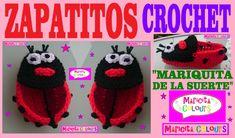"""Zapatitos de Bebé a Crochet  """"Mariquita de la Suerte (Parte 1)  por Mari..."""