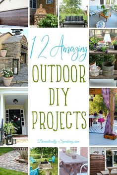 12 Amazing Outdoor DIY Projects from pizza ovens, patios, outdoor tables, gel stained garage doors, pavers and Diy House Projects, Backyard Projects, Outdoor Projects, Backyard Ideas, Garden Ideas, Porch Ideas, Patio Ideas, Garden Projects, Teak Outdoor Furniture