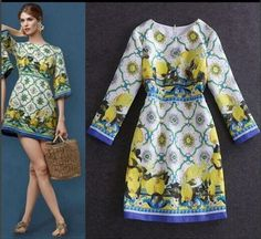 new-Occident-runway-round-neck-Modern-Vintage-Printed-disk-flowers-makings-dress