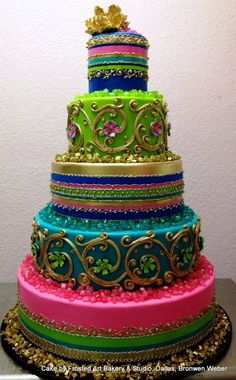 Bright Indian Sari-Inspired Cake with Metallic Piping, Sugar Flowers, Sugar Ribbon, and Sugar Rocks | Cake by Frosted Art Bakery, Dallas, Executive Pastry Chef Bronwen Weber