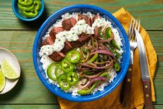 Simple, convenient, and delicious: that's what's in store with our Steak Bowl with Creamy Cilantro Dressing recipe, made with pre-measured, high-quality ingredients. Creamy Cilantro Dressing, Cilantro Sauce, Quick Meals, Quick Recipes, Easy Dinners, Healthy Dinners, Weeknight Meals, Yummy Recipes, Healthy Food