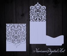 Wedding Invitation Teardrop Pocket Envelope SVG Template, Ornamental swirl Quinceanera laser cut pattern file, Silhouette Cameo, Cricut