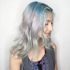 Highlighting our silver hues with some tints of blues. Colorful Hair, Blues, Hair Color, Long Hair Styles, Silver, Beauty, Haircolor, Colored Hair, Long Hairstyle