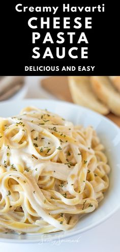 A delicious and easy creamy Havarti cheese pasta sauce that takes little time to make. Fettuccine Recipes, Creamy Pasta Recipes, Vegetarian Pasta Recipes, Pasta Sauce Recipes, Chicken Pasta Recipes, Veggie Recipes, Asian Recipes, Noodle Recipes, Homemade Seasonings