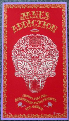 Jane's Addiction - silkscreen concert poster (click image for more detail) Artist: EMEK Venue: Sasquatch! Festival Location: George, WA Concert Date: 5/24/2009 Edition: signed, numbered, and doodled o